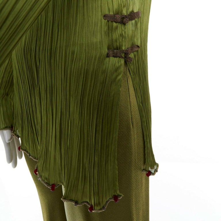CHRISTIAN DIOR GALLIANO SS99 Mao green beaded pleated silk pant suit FR38 M For Sale 4