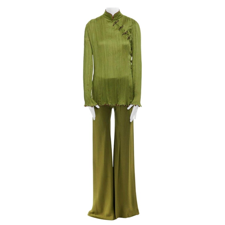 CHRISTIAN DIOR GALLIANO SS99 Mao green beaded pleated silk pant suit FR38 M For Sale
