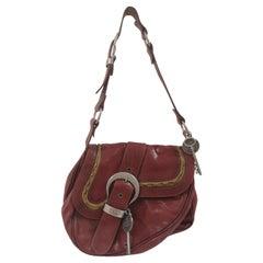 Christian Dior Gaucho saddle burgundy leather shoulder bag