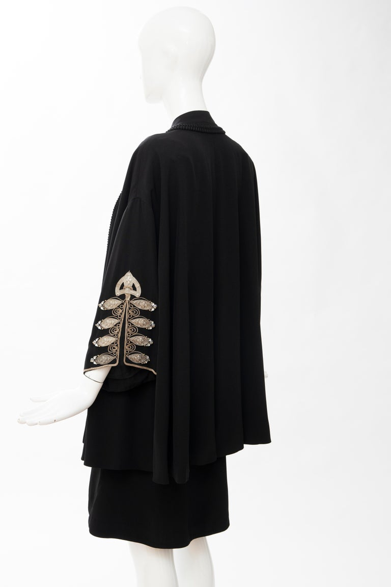 Christian Dior Gianfranco Ferré Numbered Black Embroidered Dress Ensemble, 1991 For Sale 7