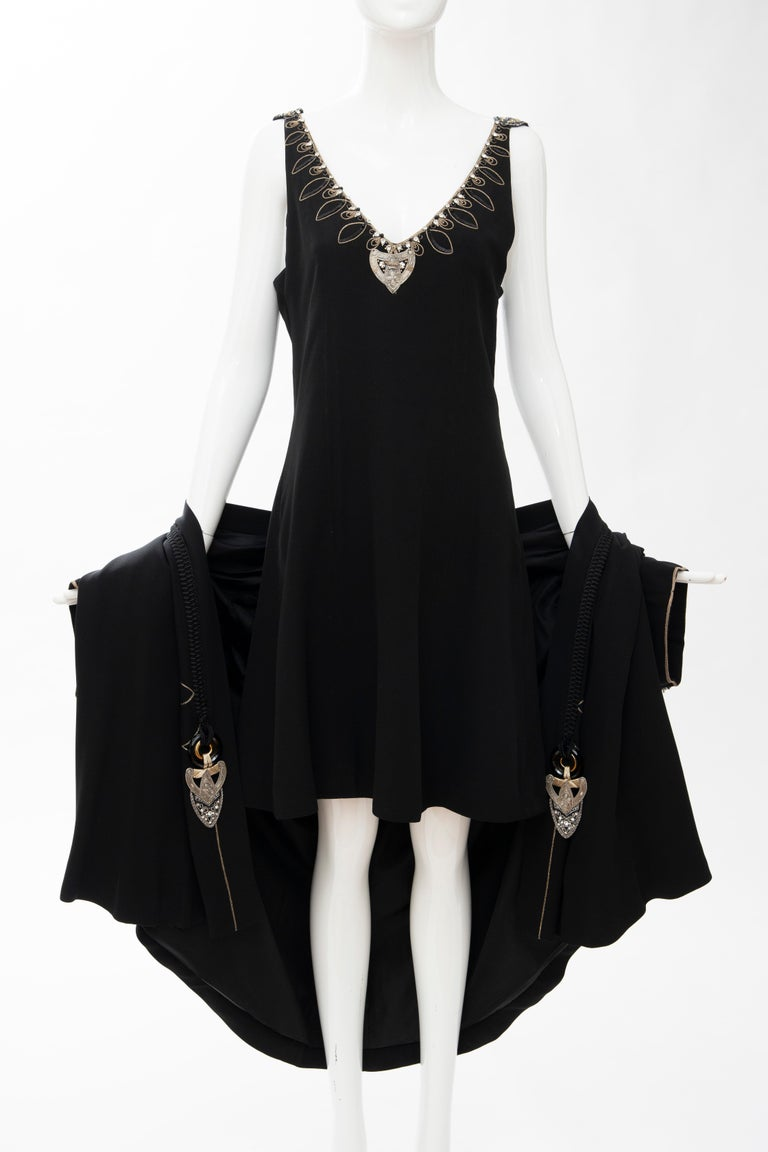 Christian Dior Gianfranco Ferré Numbered Black Embroidered Dress Ensemble, 1991 For Sale 12