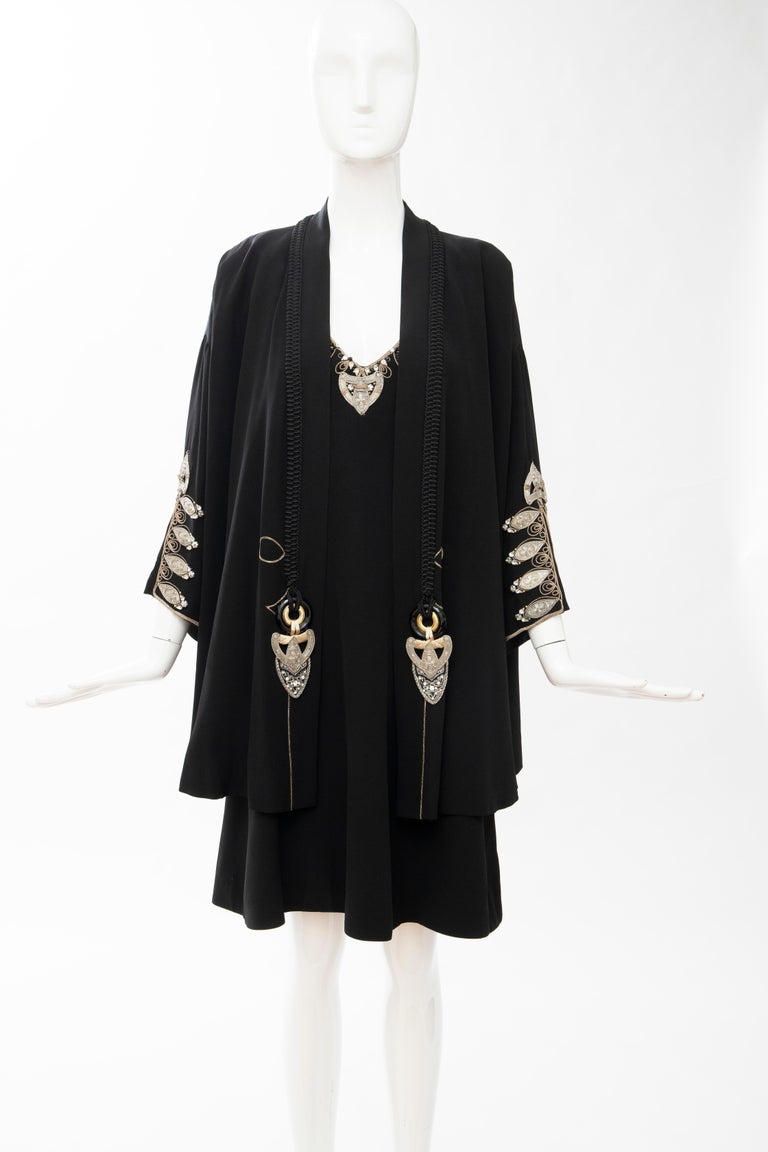 Women's Christian Dior Gianfranco Ferré Numbered Black Embroidered Dress Ensemble, 1991 For Sale