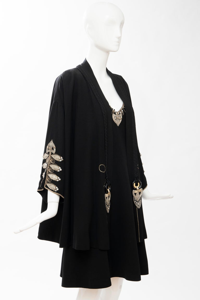 Christian Dior Gianfranco Ferré Numbered Black Embroidered Dress Ensemble, 1991 For Sale 1