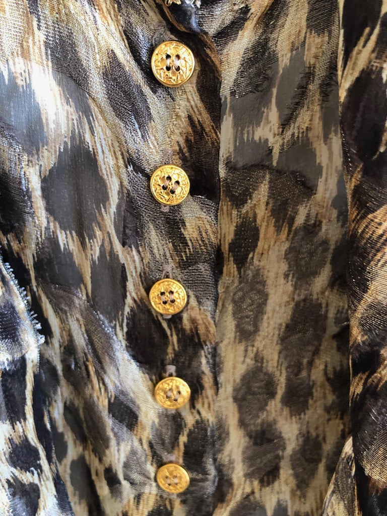 Black Christian Dior Gianfranco Ferre Numbered Demi Couture Leopard Print Silk Jacket