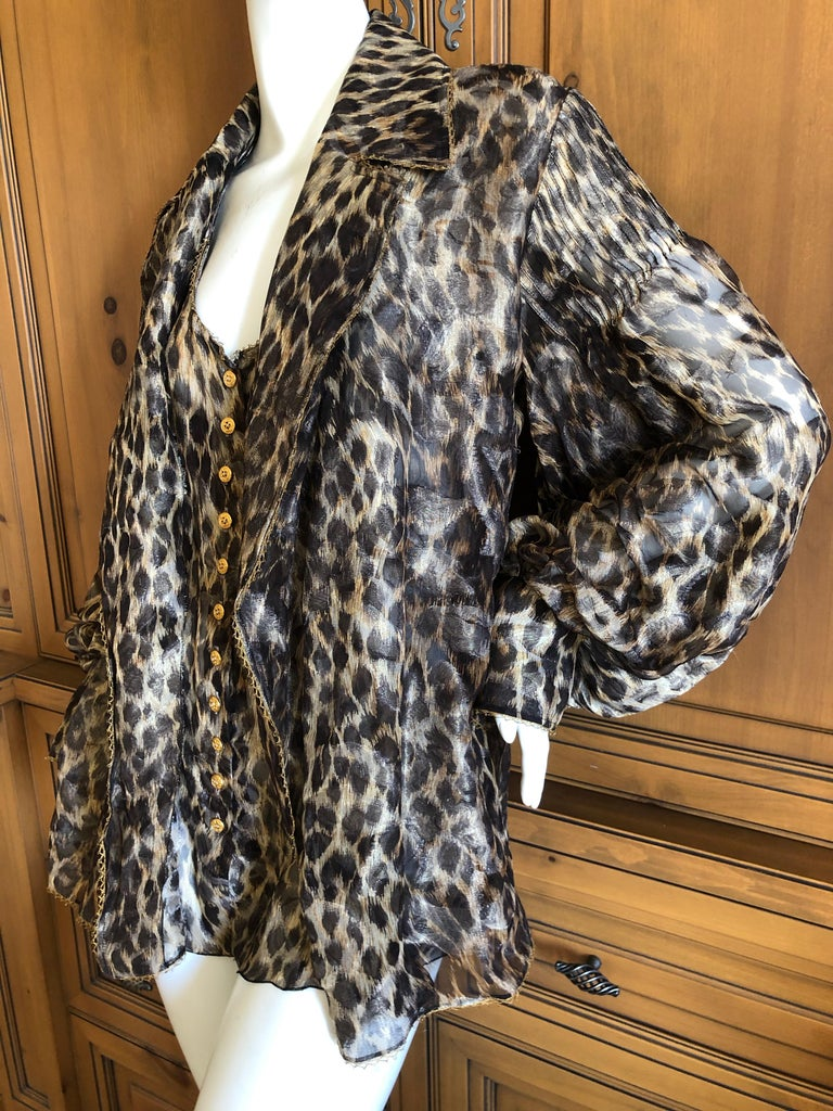 Christian Dior Gianfranco Ferre Numbered Demi Couture Leopard Print Silk Jacket In Excellent Condition In San Francisco, CA