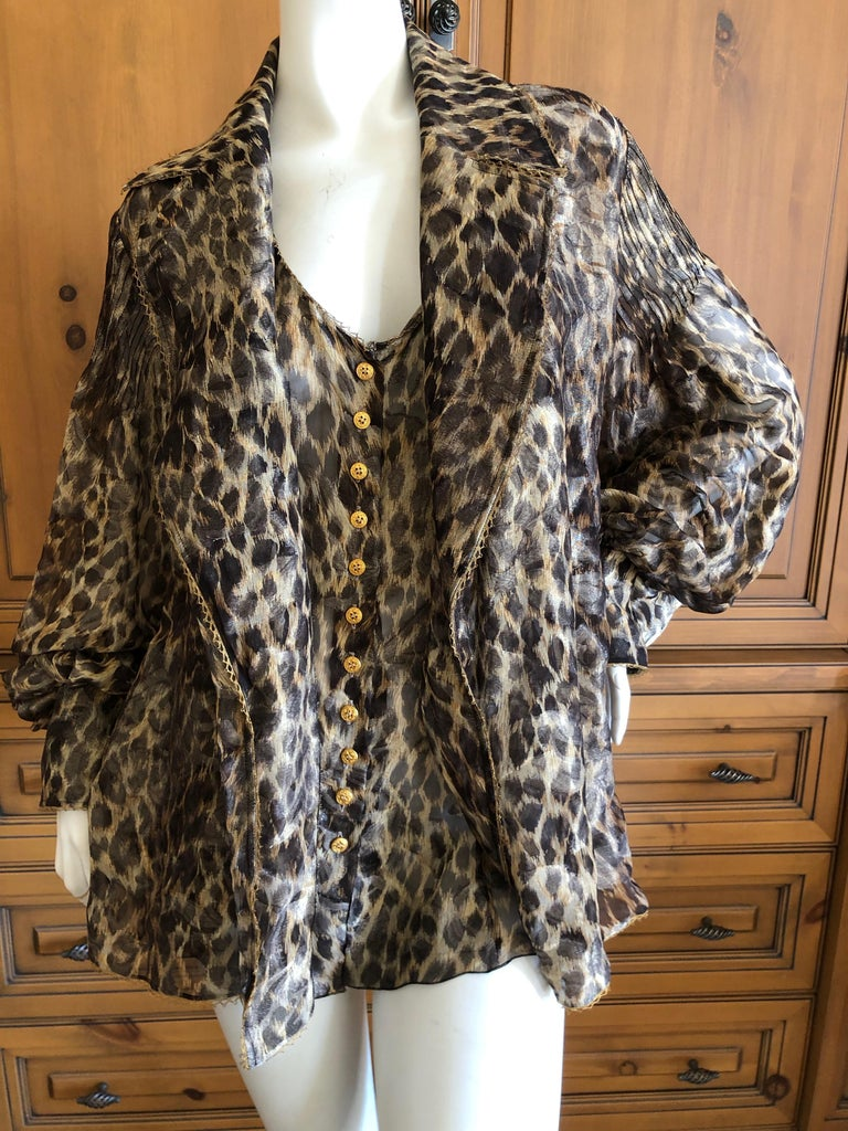 Women's Christian Dior Gianfranco Ferre Numbered Demi Couture Leopard Print Silk Jacket