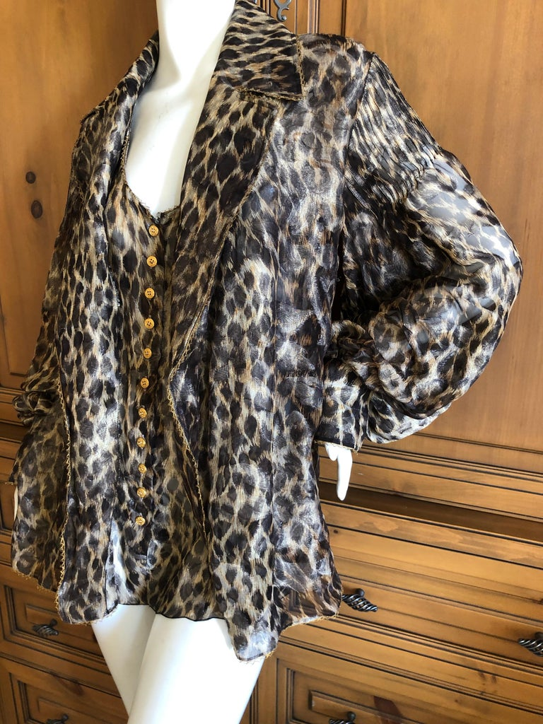 Christian Dior Gianfranco Ferre Numbered Demi Couture Leopard Print Silk Jacket 1