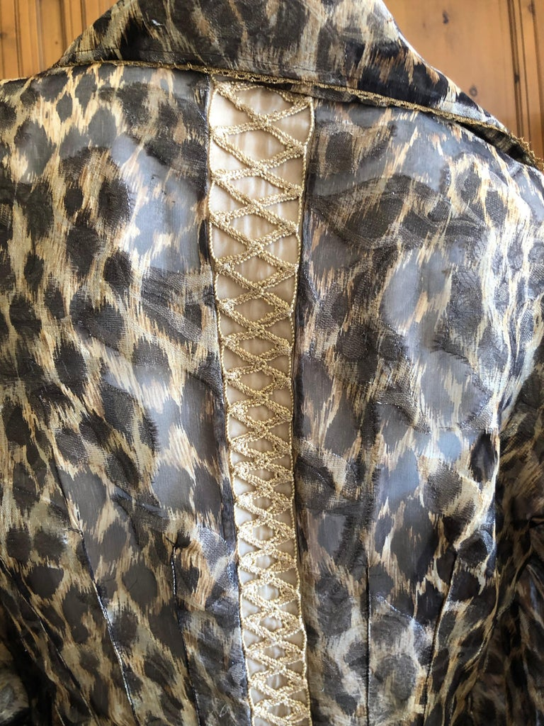 Christian Dior Gianfranco Ferre Numbered Demi Couture Leopard Print Silk Jacket 2