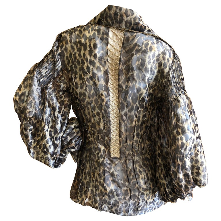 Christian Dior Gianfranco Ferre Numbered Demi Couture Leopard Print Silk Jacket