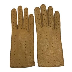 CHRISTIAN DIOR Gloves in Dark Beige Perforated Peccary Leather Size 8