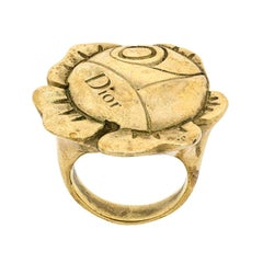 Christian Dior Gold Flower Ring