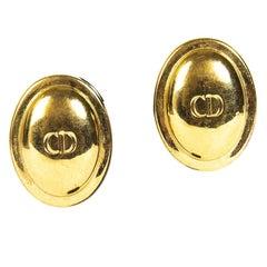 Christian Dior Gold Logo Clip On Earrings