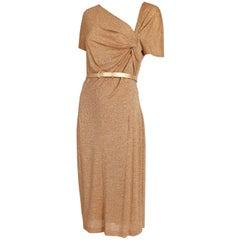 Christian Dior Gold Metallic Stretch Cocktail Dress w/Belt