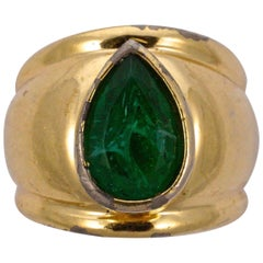 Christian Dior Gold Plated Faux Emerald Ring, circa 1980s