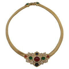 Christian Dior Gold Plated Necklace with Color Glass Stones