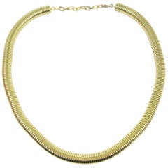 Christian Dior Gold Tone Coil Snake Chain Link Choker Necklace in Box