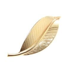 Christian Dior Gold-tone Vintage Leaf Brooch
