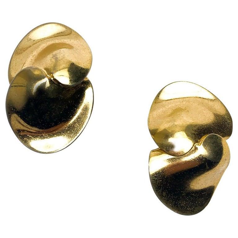 CHRISTIAN DIOR Golden Clip-on Earrings For Sale