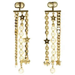 Christian Dior Goldtone & Faux Pearl Danseuse Etoile Logo Pierced Earrings