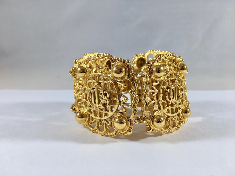 Christian Dior Goldtone Logo Bracelet 1980s In Excellent Condition For Sale In Chicago, IL