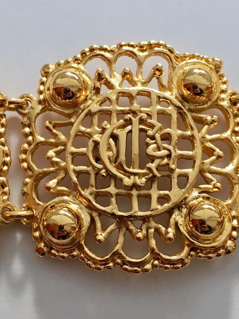 Christian Dior Goldtone Logo Bracelet 1980s For Sale 1