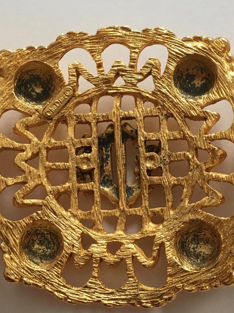 Christian Dior Goldtone Logo Bracelet 1980s For Sale 2