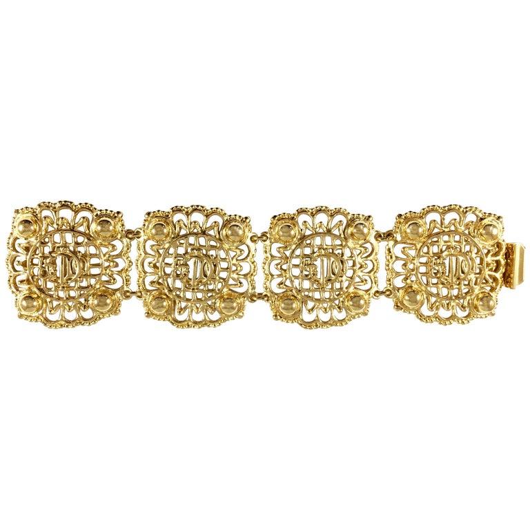 Christian Dior Goldtone Logo Bracelet 1980s For Sale