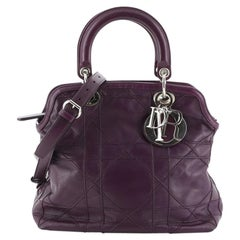 Christian Dior Granville Satchel Cannage Quilt Leather Medium