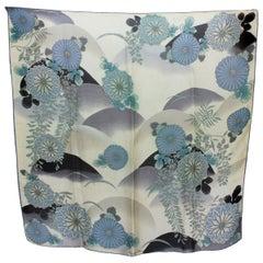 Christian Dior Gray Blue Silk Floral Scarf