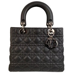 Christian Dior Gray Cannage Quilted Leather Lady Dior Bag