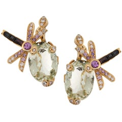 Christian Dior Green Beryl Diamond Sapphire Yellow Gold Earrings