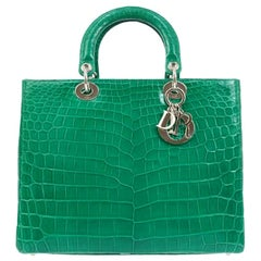 Christian Dior Green Crocodile Exotic Silver Charm Top Handle Satchel Tote Bag