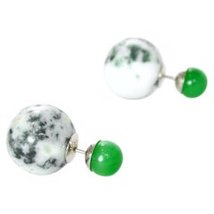 Christian Dior Green Marble Mise En Dior Tribal Earrings
