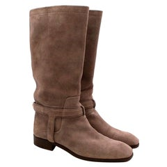 Christian Dior Greige Suede Harness Flat Boots - Size EU 37