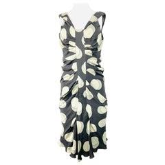 Christian Dior Grey and White Silk Polka Dot Midi Dress Size 38