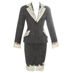 Christian Dior grey Donegal tweed skirt suit edged in white Calais lace, fw 1998