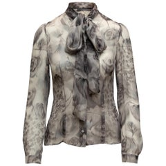 Christian Dior Grey Floral Print Pussy Bow Blouse