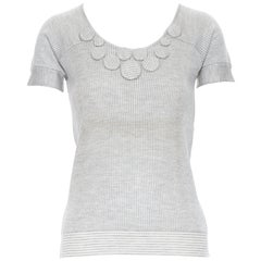 CHRISTIAN DIOR grey struoed viscose wool fabric brooch button sweater top FR36