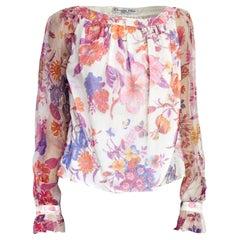 Christian Dior hand printed silk evening blouse. circa 1970s