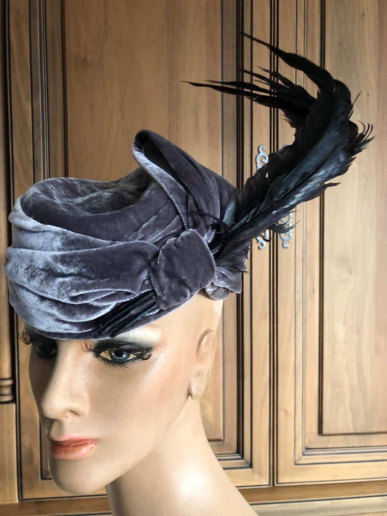 Black Christian Dior Haute Couture Feathered Hat by Stephen Jones for John Galliano For Sale