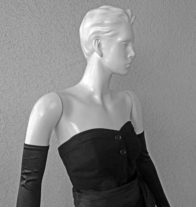 Black Christian Dior Haute Couture Milieu de Siecle Dinner Dress Fall/Winter 1949-1950 For Sale
