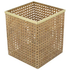 Christian Dior Home Collection 1970s Lucite and Rattan Waste Basket