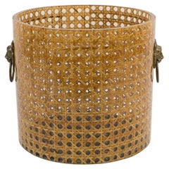 Christian Dior Home Collection 1970s Lucite and Rattan Waste Basket or Planter