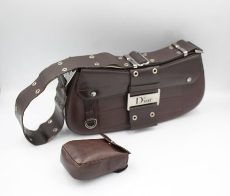 Christian Dior in brown Leather Street Chic handbag For Sale 2