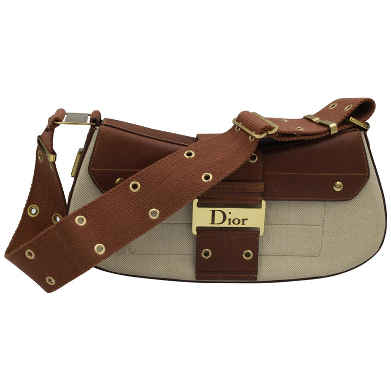 Christian Dior in Canvas and Brown Leather Street Chic handbag For Sale