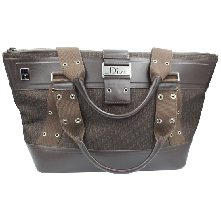 Christian Dior in Canvas and Brown Leather Travel bag For Sale
