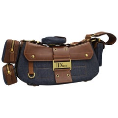 Christian Dior in Denim and Brown Leather Street Chic handbag