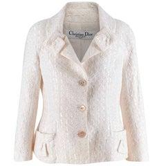 Christian Dior Ivory Cotton Blend Textured Bar Jacket - Size US 10