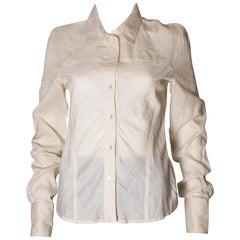 Christian Dior Ivory Silk Shirt