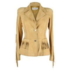 Christian Dior Jacket Suede Fringe Subtle Embroidery Superb Piece 38 / 4